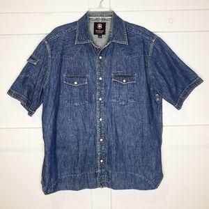 Victorinox Short Sleeve Button Down Denim Shirt